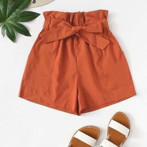 Orange Ruffle Shorts